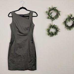 Nine West Green Asymmetric Cotton Sheath Dress